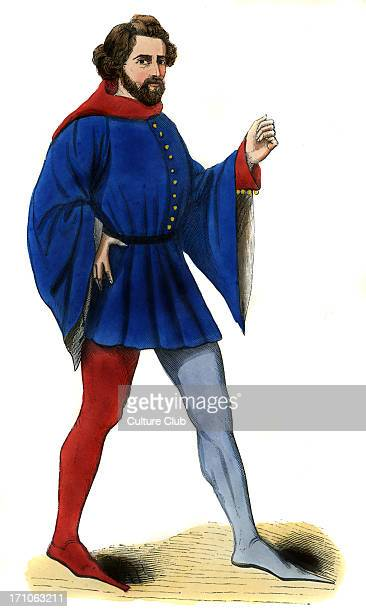 Young Frenchman - costume of the 14th century, shown wearing a blue belted soubreveste with long sleeves decorated with buttons and different...