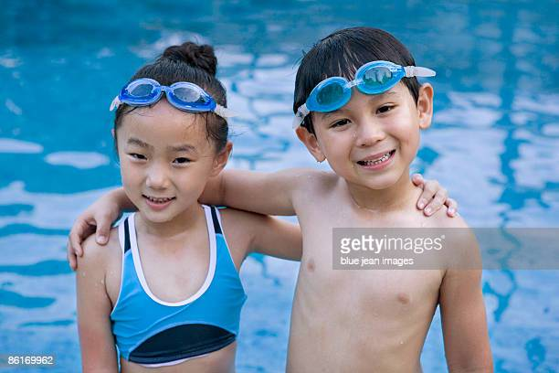 Young friends at the pool