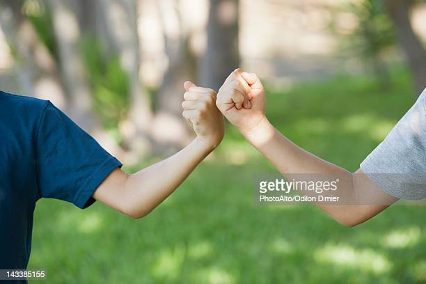Young friends doing fist bump, cropped