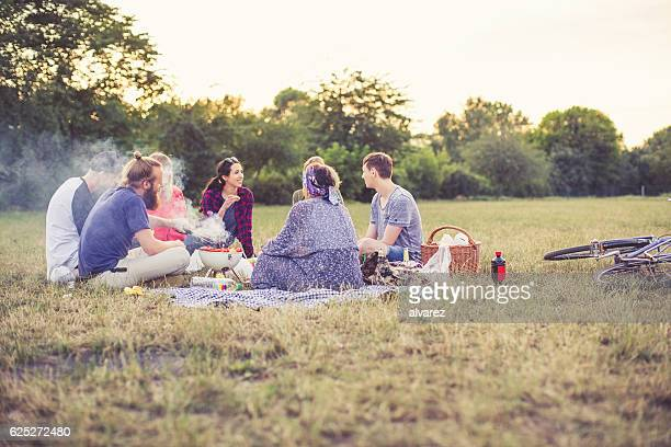 young friends enjoying picnic at the park - park stock-fotos und bilder