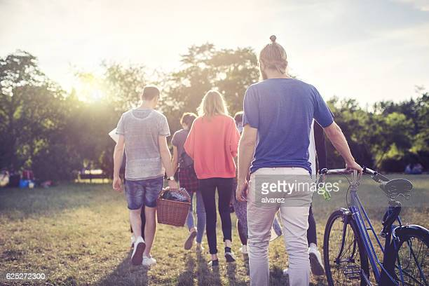 Young friends going on picnic