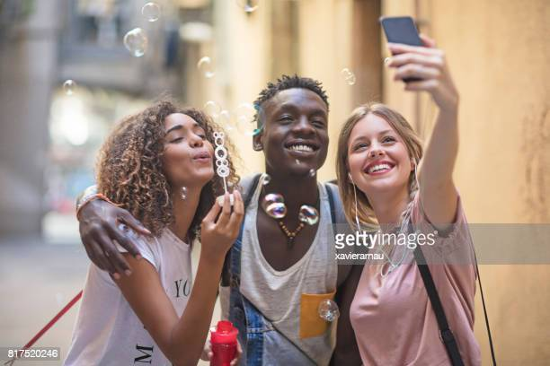 Young friends having fun in the city