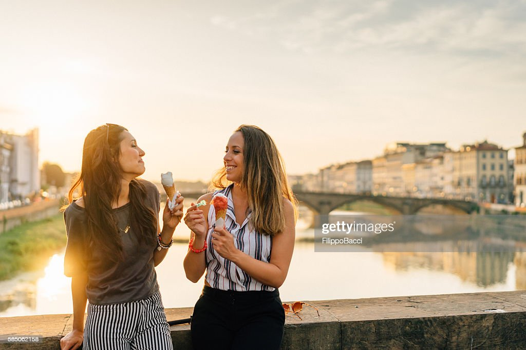 Young Friends Portrait While Eating Ice-Cream : Stock Photo