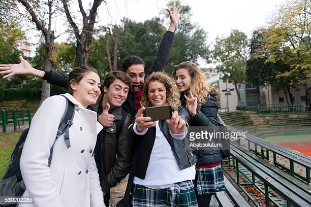 Young Friends Taking Selfie with Smart Phone, Break, Istanbul, Turkey