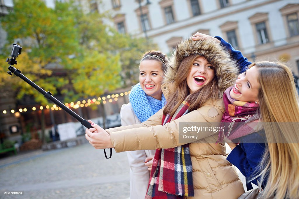 Young friends together making selfie : Stock Photo