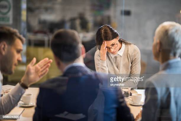 young frustrated woman failed on a job interview in the office. - negative emotion stock pictures, royalty-free photos & images