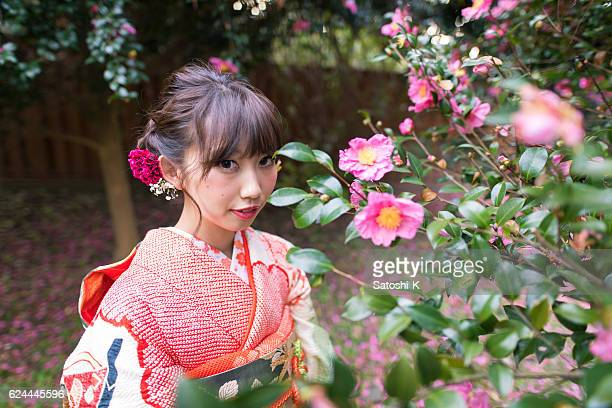 Young furisode girl in camerilla