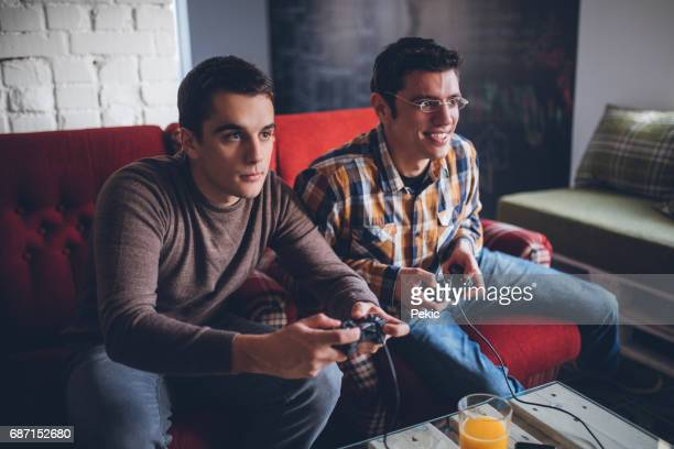 Young Gamers Intensly Playing