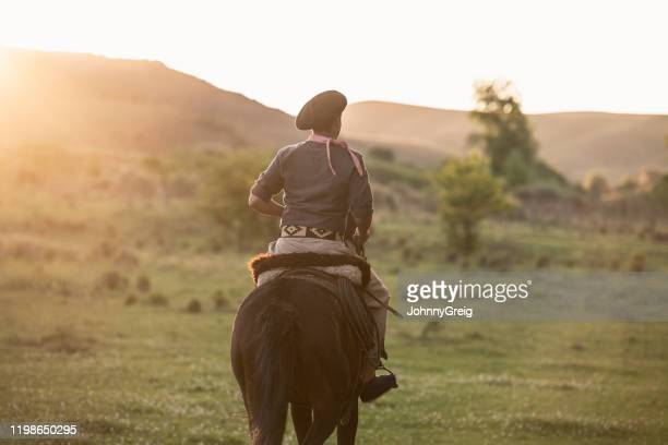jeune gaucho dans l'équitation traditionnelle de vêtement dans l'après-midi - argentine photos et images de collection