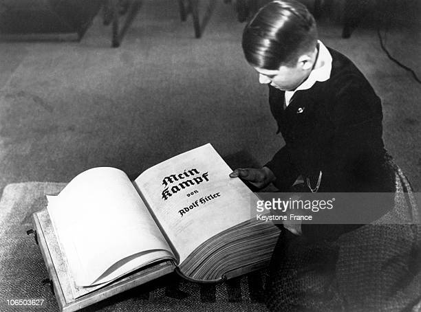Young German Boy Reading Mein Kampf In 1938