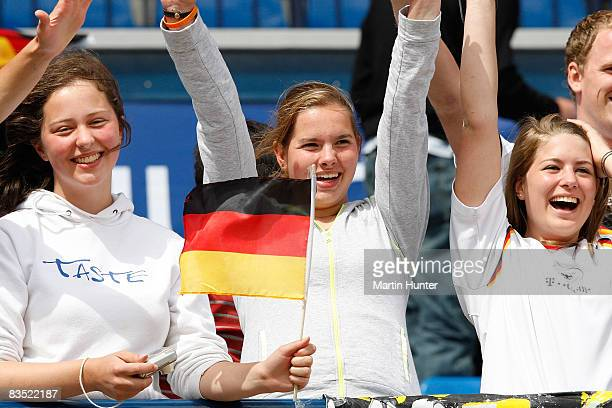 Young German fans applaud their team during the FIFA U17 Women`s World Cup match between Germany and Ghana at QE II Stadium on November 1 2008 in...