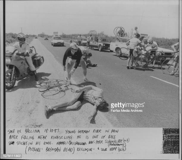 Young German rider in pain after falling near Kingscliffe He is out of race stiches in his knee Hans Peter Schumacher October 18 1987