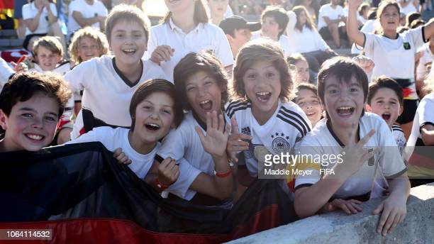 Young Germany fans during the FIFA U-17 Women's World Cup Uruguay 2018 group C match between Germany and USA at Estadio Charrua on November 21, 2018...