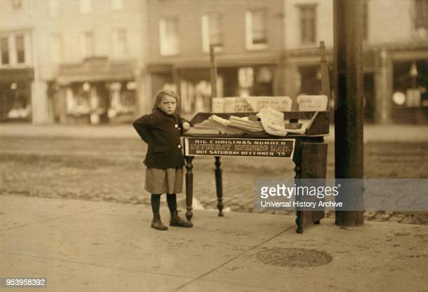 Young Girl 6 years old Selling Newspapers at Washington and Third Street FullLength Portrait Hoboken New Jersey USA Lewis Hine for National Child...