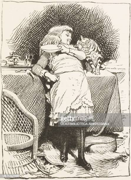 Young girl and a cat purring, illustration from The Graphic, volume XXVIII, no 733, December 15, 1883.