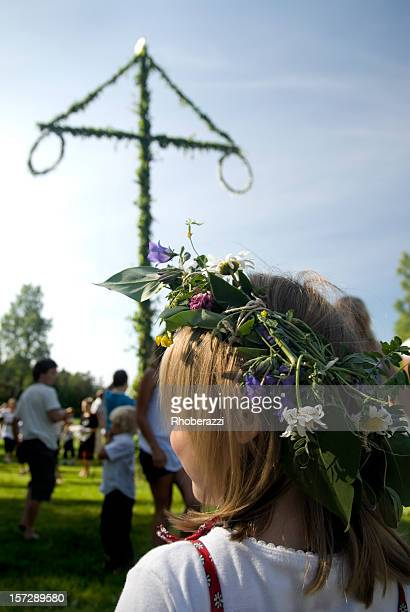 Young girl at a midsummer festival