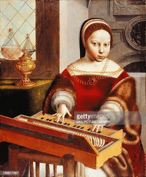 Young girl at a spinet attributed to Jan van Hemessen or his workshop oil on wood Netherlands 16th century Worcester Worcester Art Museum