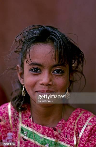 Young girl at Id Jama Masjid Delhi India