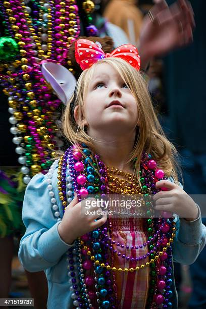 young girl at mardi gras 2013 - mardi gras girls stock photos and pictures