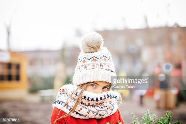 Young girl at the Christmas market