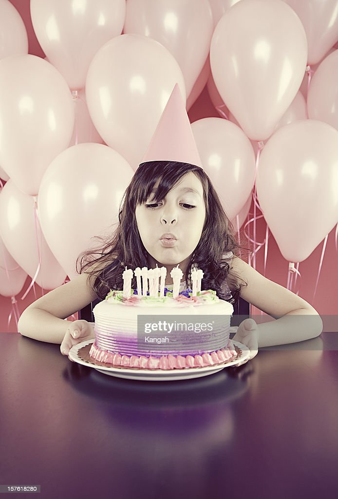 Young Girl With Birthday Cake Stock Photo Getty Images