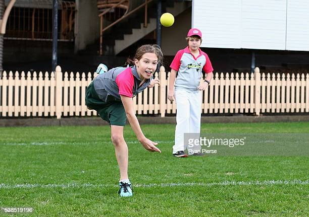 A young girl bowls during the schedule announcement for the 2016/07 Big Bash League schedule at North Sydney Oval on June 7 2016 in Sydney Australia