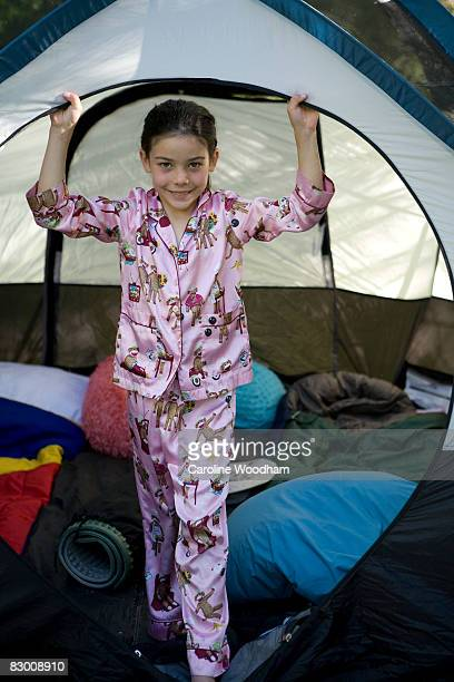 young girl camping. - ketchum idaho stock photos and pictures