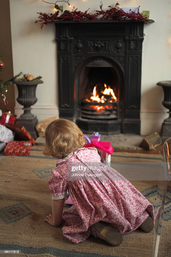 Young Girl Christmas Day : Foto de stock