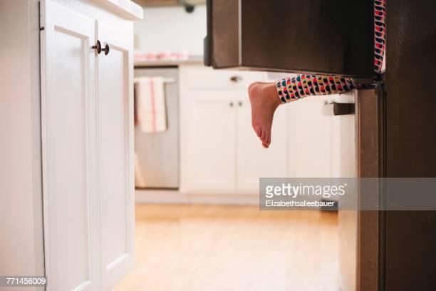 young girl climbing into a refrigerator - frigo humour photos et images de collection