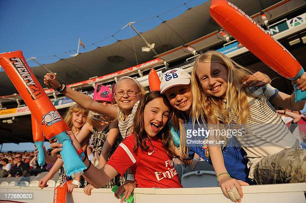 Young girl cricket fans during the Friends Life T20 match between Middlesex Panthers and Essex Eagles at Lord's Cricket Ground on July 4 2013 in...