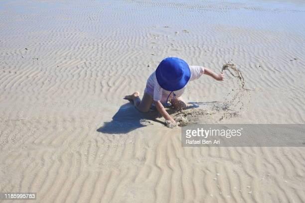 young girl diging sand on the beach - rafael ben ari stock-fotos und bilder