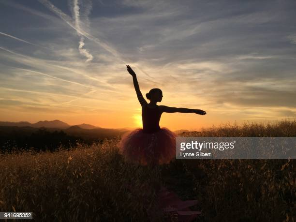 young girl does ballet on a hill in southern california in pink tutu - principe persona nobile foto e immagini stock