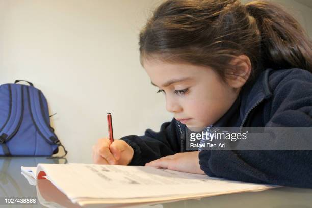 Young Girl Doing her Homework after School