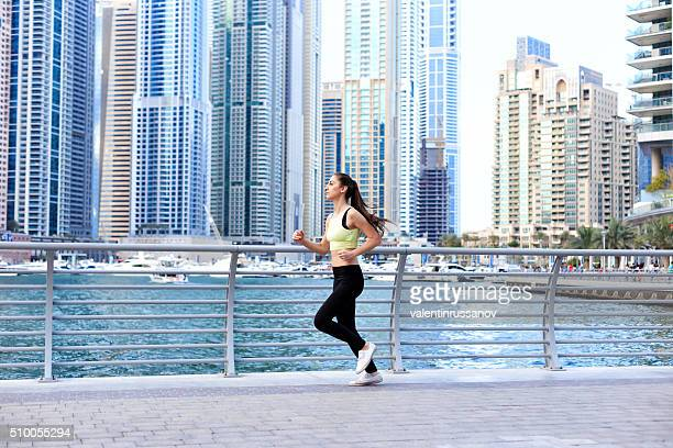 Young girl doing jogging in Dubai