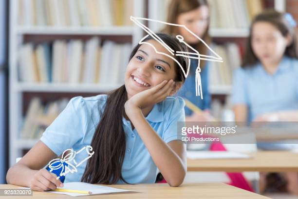 young girl dreams about her future - calculating stock pictures, royalty-free photos & images
