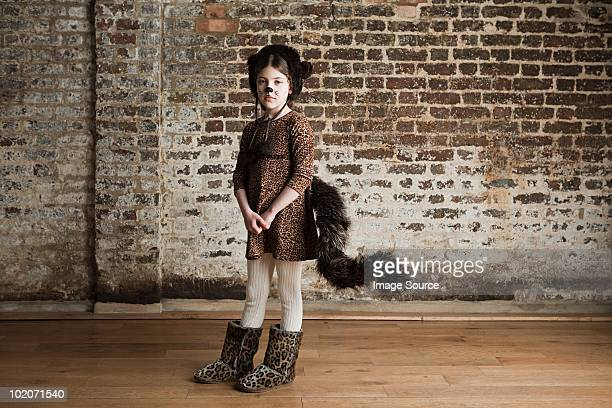 young girl dressed up as cat - leopard print stock pictures, royalty-free photos & images