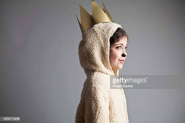 young girl dressed up as sheep, wearing gold crown - bambine in mutande foto e immagini stock