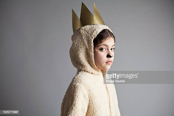 young girl dressed up as sheep, wearing gold crown - hood clothing stock pictures, royalty-free photos & images