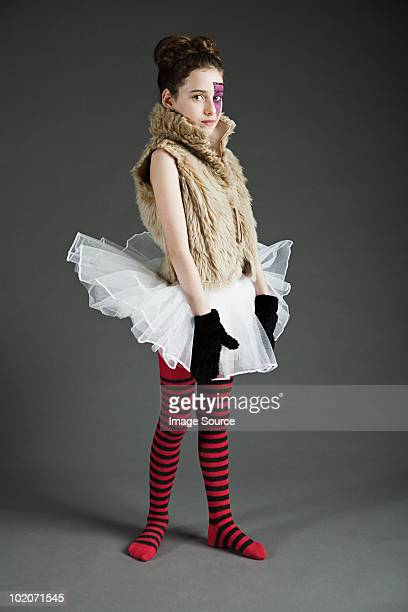 young girl dressed up in tutu with face paint - little girls dressed up wearing pantyhose stock photos and pictures