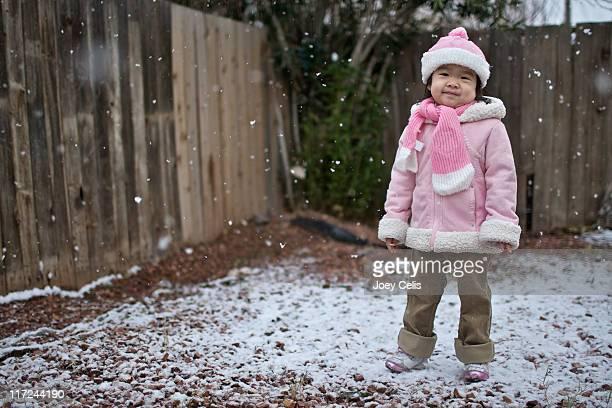 Young girl enjoying first snowfallof year