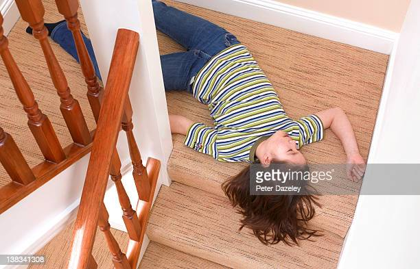 young girl fallen downstairs - dead girl stock pictures, royalty-free photos & images