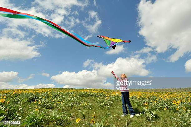 Young girl flying brightly colored kite in field
