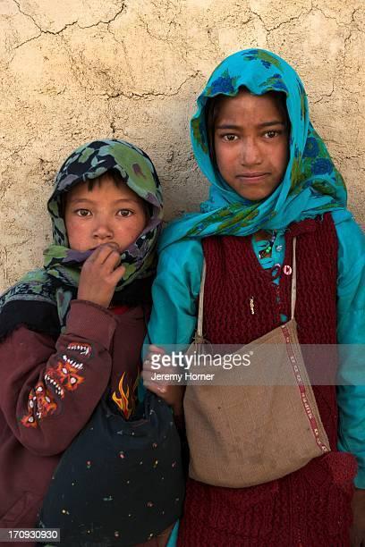 LADAKH INDIA LADAKH INDIA Young girl friends near Mulbekh along the SrinagarLeh highway
