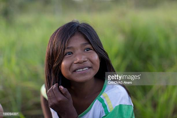A young girl from the Guajajara Indians outside during May 2012 in the state of MaranhaoBrazil