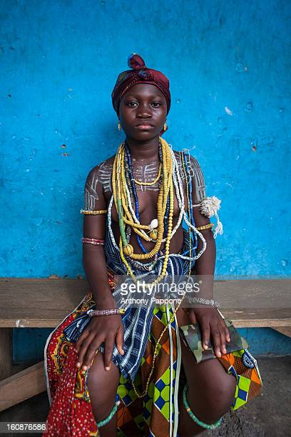 Young girl from the Krobo tribal group wear traditional beads. I photographed the dipo ceremony of the Krobo people. Africa many cultures celebrate...