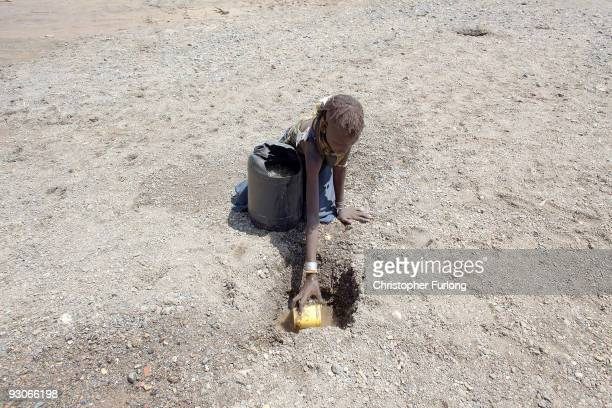 Young girl from the remote Turkana tribe in Northern Kenya digs a hole in a river bed to retrieve water. On November 9, 2009 near Lodwar, Kenya. Over...