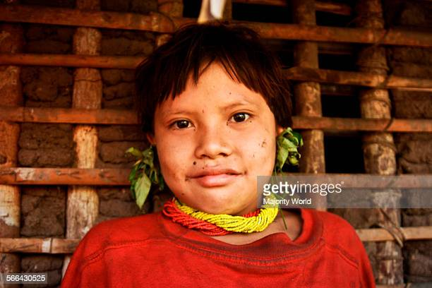 A young girl from the Yanomami community of the Ocamo river near Esmeralda The Yanomami are an ancient indigenous people living along the...