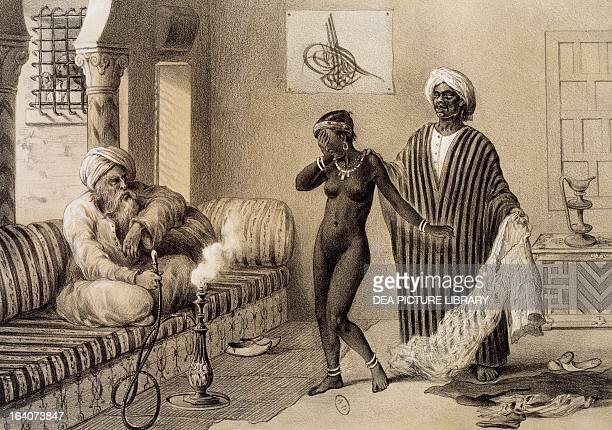 Young girl from Timbuktu being offered as a slave by a djellabe from Voyages to eastern Soudan in northern Africa and Asia minor 18471854 by Pierre...