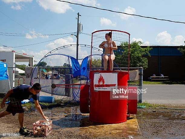 A young girl getting dunked in the dunk tank at the at the Medina County Fair in Medina Ohio on August 1 2012 Photo Lisa Wiltse