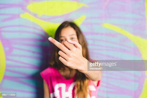 young girl giving the finger - kid middle finger stock pictures, royalty-free photos & images